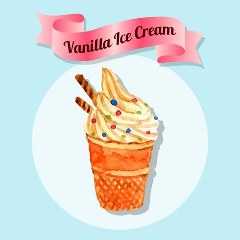 Ice cream water color illustration