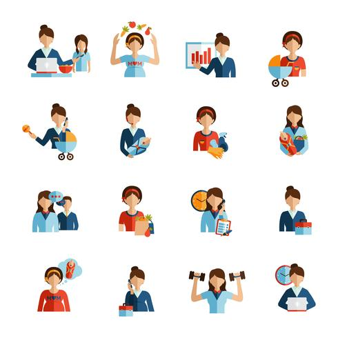 Businesswoman mother flat icons set
