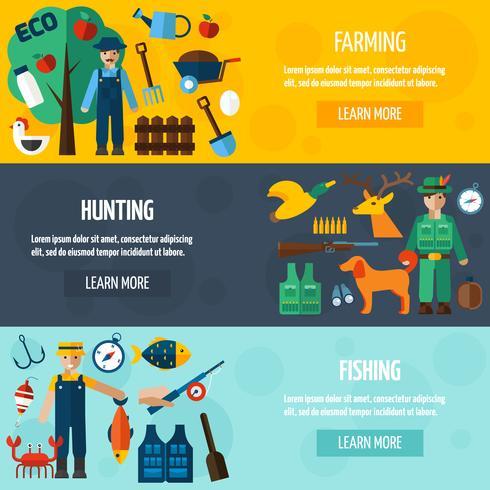 Cazador de pescadores y conjunto de banners de granjero vector
