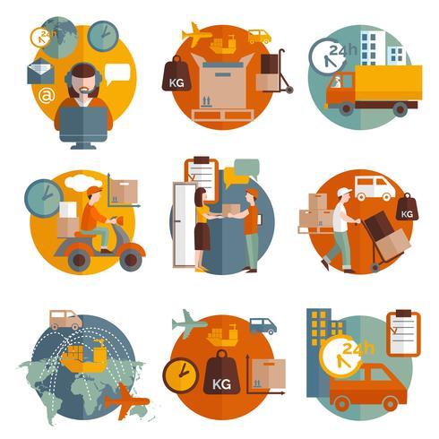 Conjunto de iconos de concepto de logística vector