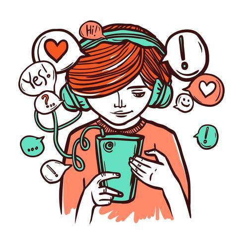 Ung flicka i hörlurar med smartphone