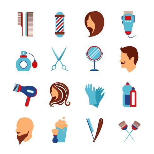 Barbershop salon de coiffure plat icônes définies vecteur