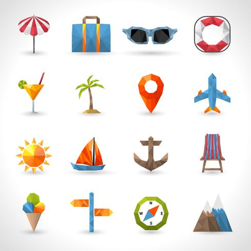 Travel Polygonal Icons vector