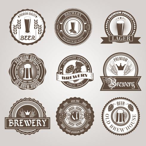 Beer labels set black  vector