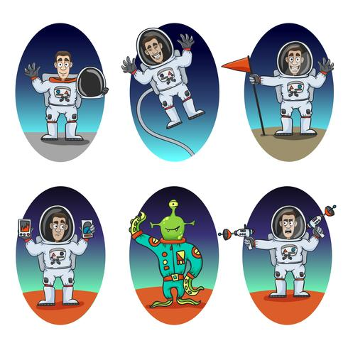 astronaut emotioner set vektor