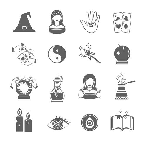 Fortune Teller icon set vektor