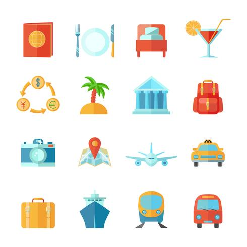 Travel Icon Set piatto