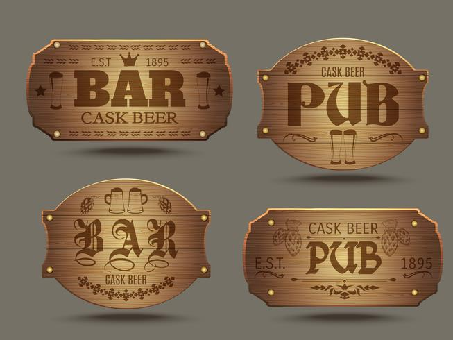 Wooden pub bar signs set