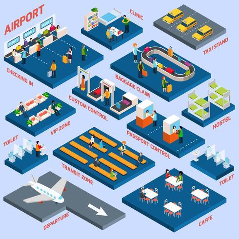 Concepto isométrico de aeropuerto vector