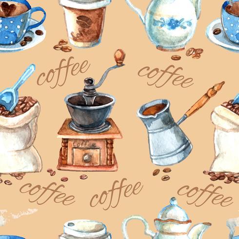 Vintage kaffeset objekt sömlöst mönster vektor