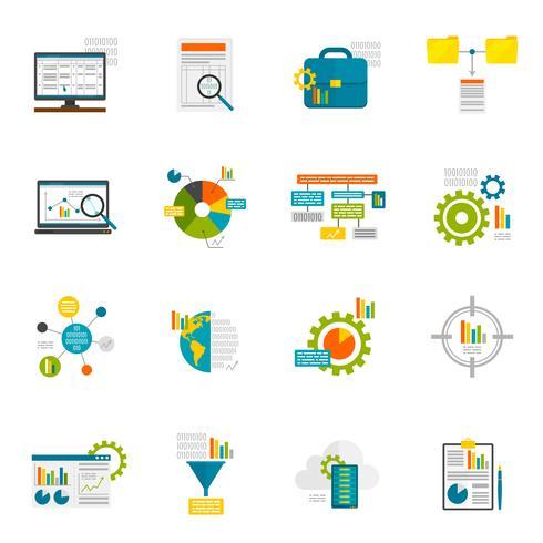 Data Analytics vlakke pictogrammen