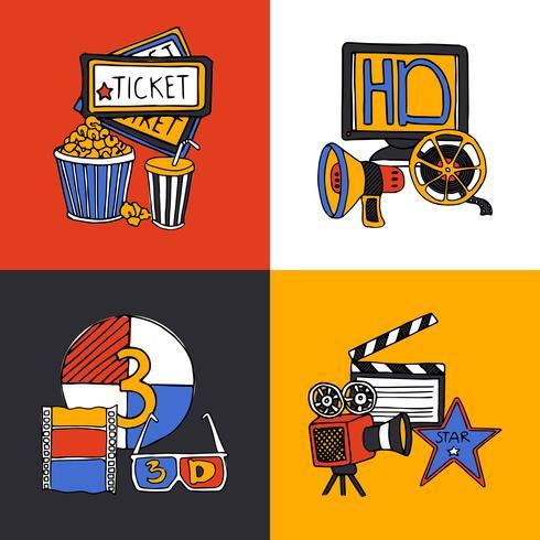 Set di icone piane di concetto di design del cinema