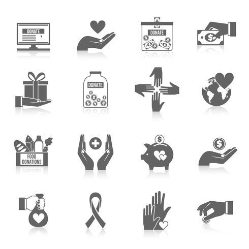 Conjunto de iconos de caridad negro