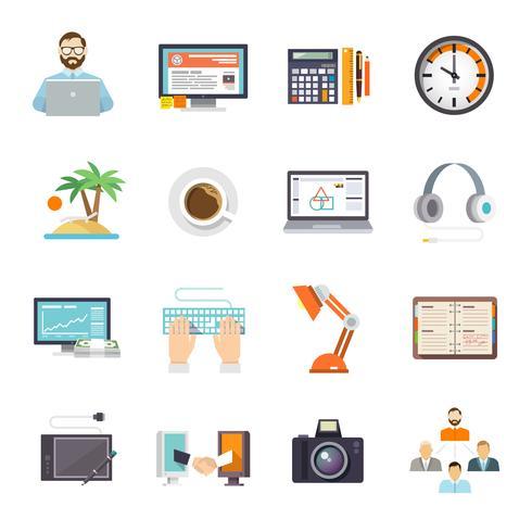 freelance pictogram plat