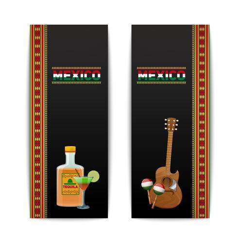 Bandeiras mexicanas verticais vetor