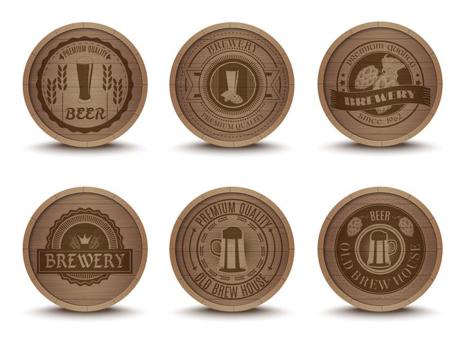 Wooden beer emblems mats icons set