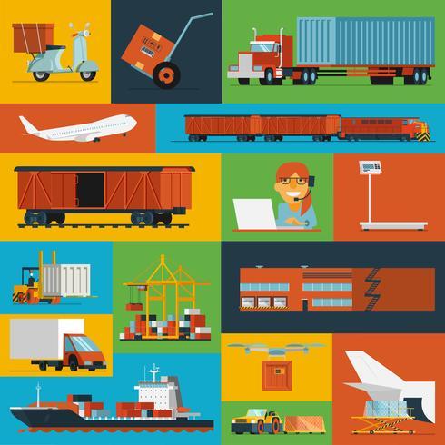 Ícones logísticos definidos planas