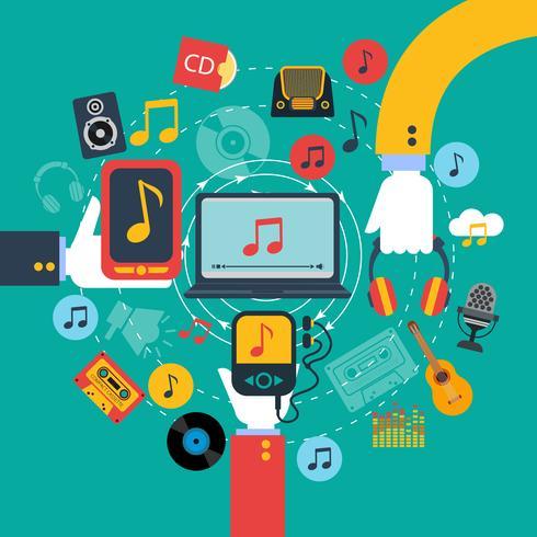 Concepto de aplicaciones de música impresión poster. vector