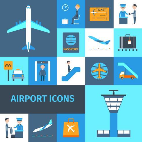 Conjunto de iconos decorativos del aeropuerto vector