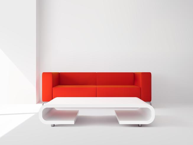 Röd soffa och vit bordsinredning