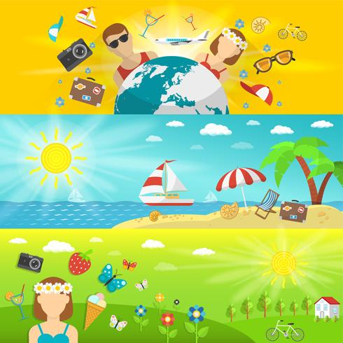 Summer vacations and travel horizontal banners set vector