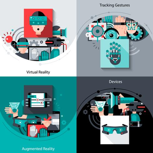 Virtual Augmented Reality Set vector