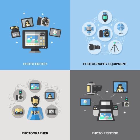 Fotografie-iconen plat vector