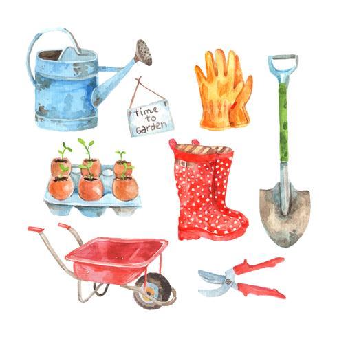 Gardening watercolor pictograms collection set vector
