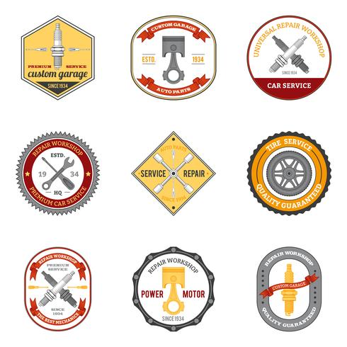 Repair Workshop Emblems Colored vector