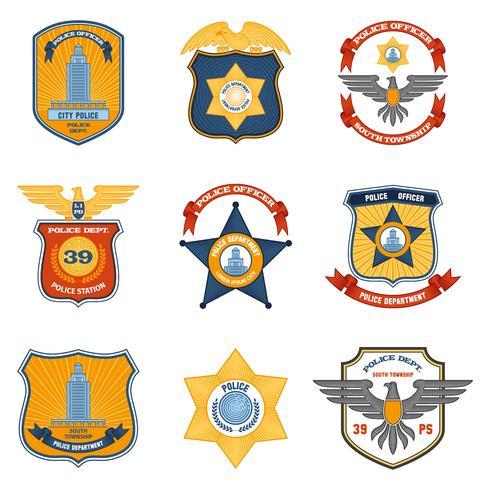 Distintivi della polizia colorati