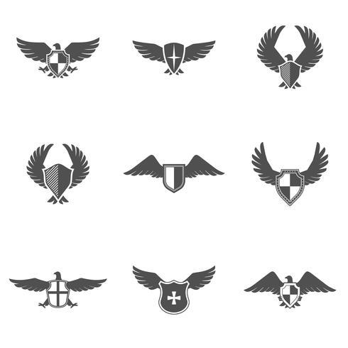 Conjunto de escudo de icono de águila