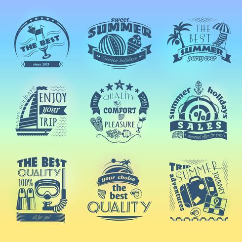Summer holiday vacation labels set