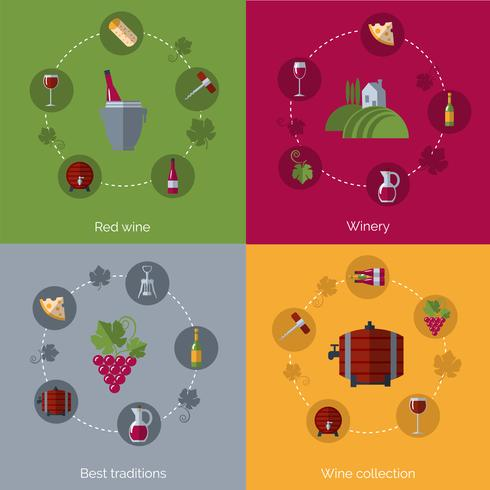 Wine flat 4 icons composition circles vector