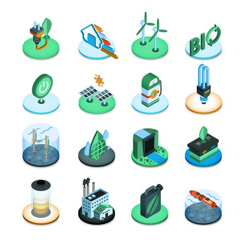 Ícones isométricos de energia verde vetor
