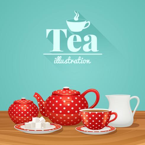 Ilustración de cerámica de té