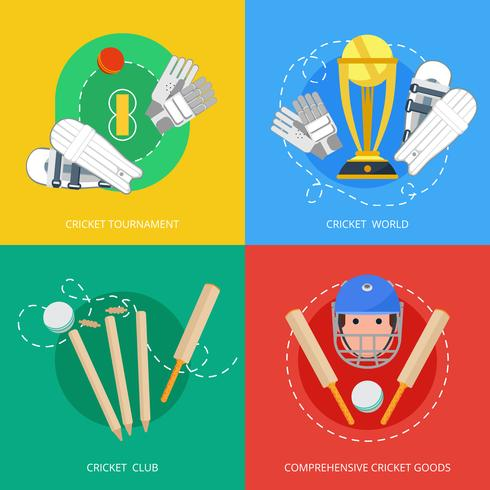 Composizione di icone piane di cricket 4