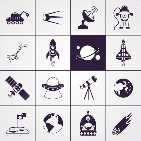 Space Icons Black vector