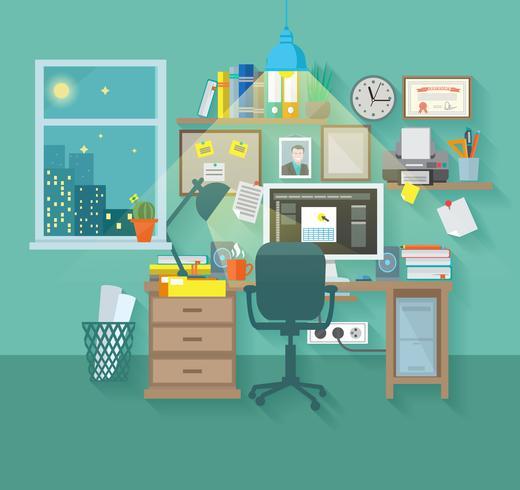 Workspace In Room vector