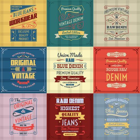 Denim typography background color set vector