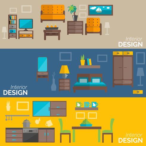 Conjunto de banners planos de diseño de muebles para el hogar.