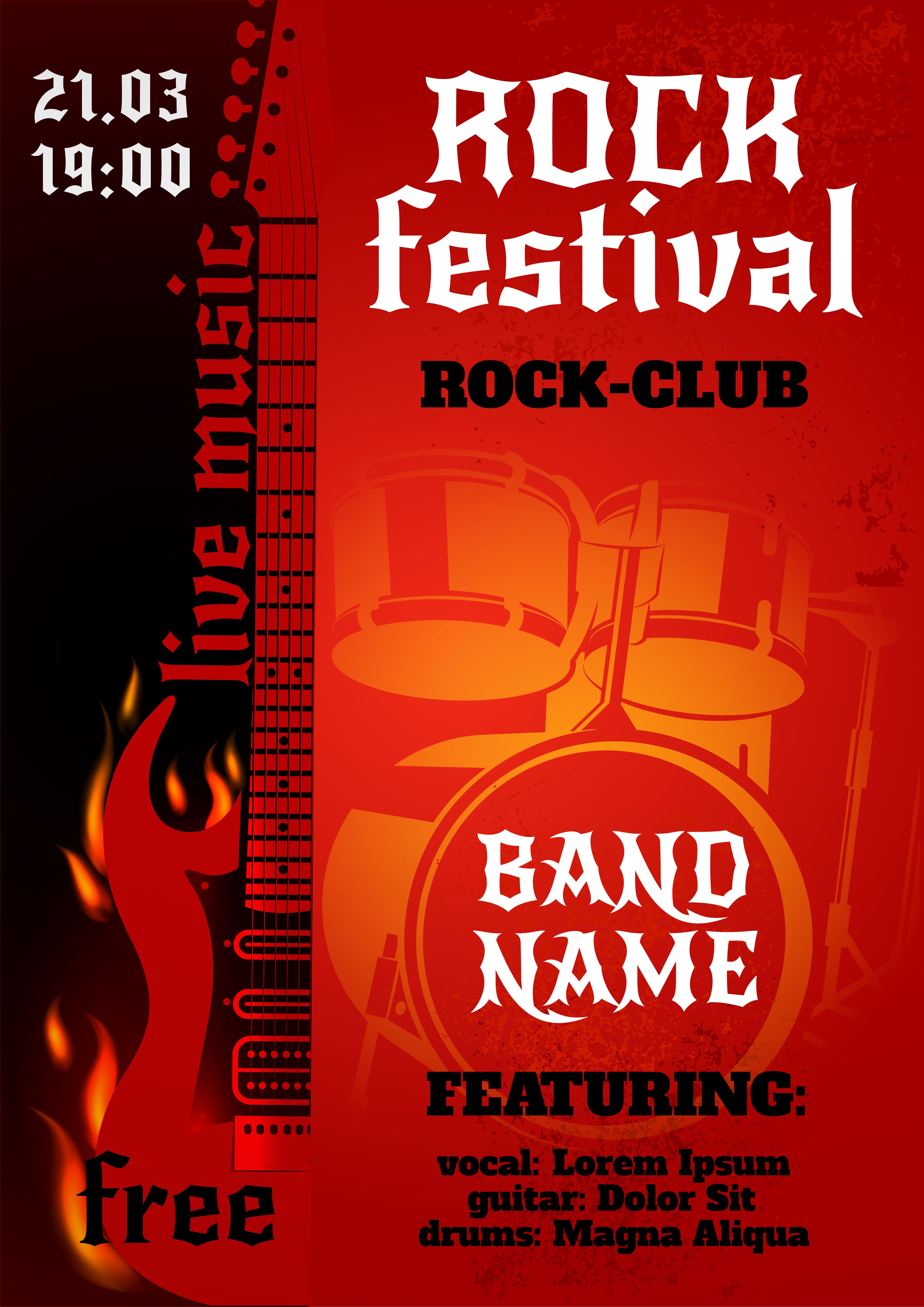 Rock Concert Poster - Download Free Vectors, Clipart ...