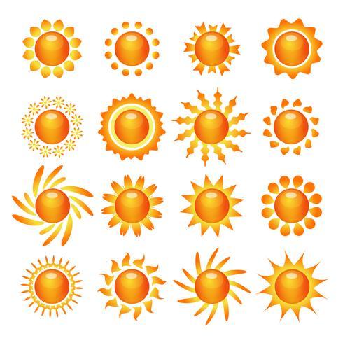 Set di icone simbolo del sole