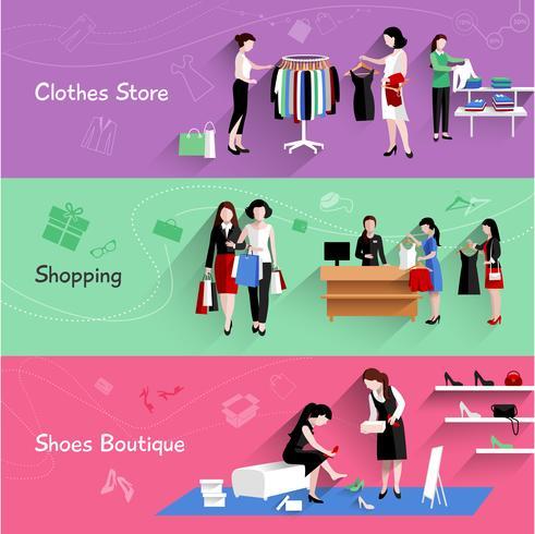 Conjunto de banners de compras de mujer vector