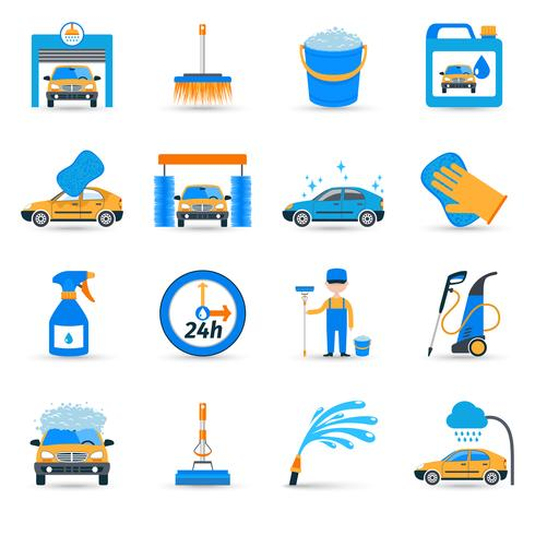 Car wash service icons set vector