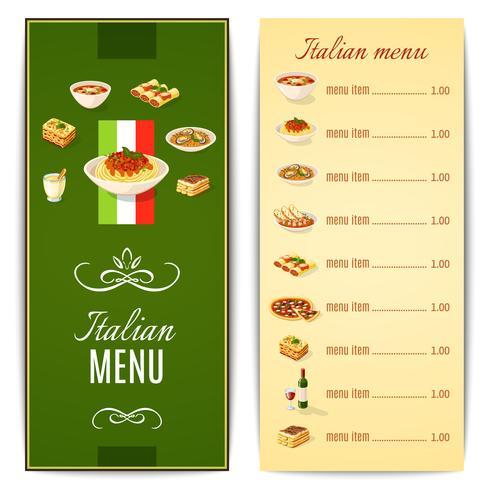 Menú de comida italiana vector