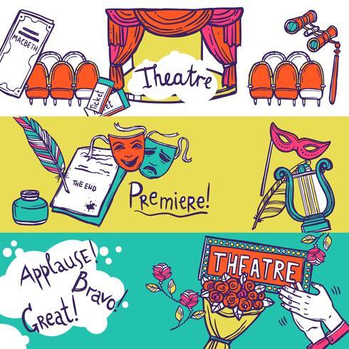 Conjunto de banners de teatro