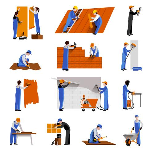 Worker Icons Set vector