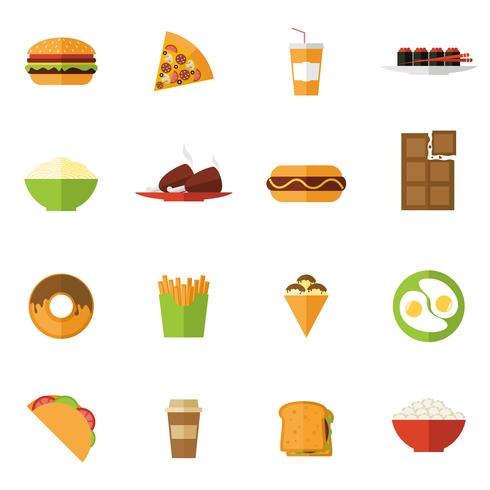 fast food pictogrammen instellen vector