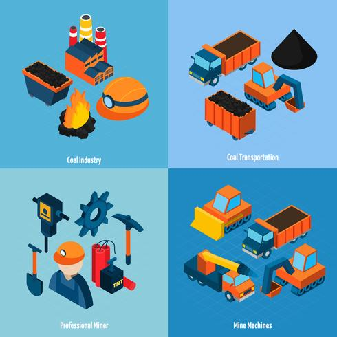 Industria del carbón isométrica vector