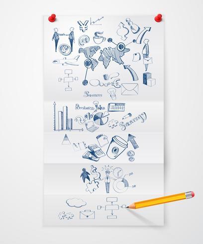 Folha de papel de doodle de negócios